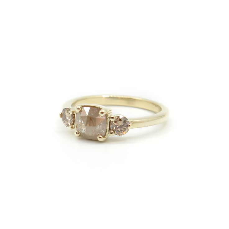 Rose cut peach diamond trilogy ring | Dear Rae | Commission  #DearRae #DearRaeJewellery #EngagementRing #PeachDiamond
