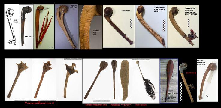 Mazze delle woodlands nordorientali. Prima del contatto con gli europei i popoli indigeni non avevano oggetti metallici. Per il combattimento corpo a corpo si usavano vari tipi di mazze, la più comune aveva una testa sferica di legno.