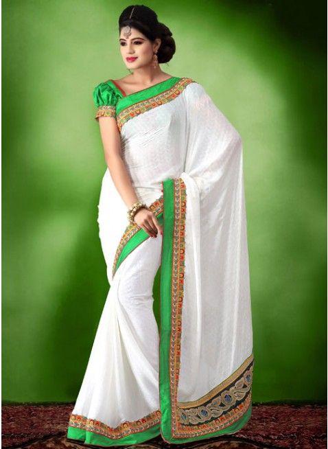 Killer white embroidered #saree #designersares #clothing #fashion #womenwear #womenapparel #ethnicwear