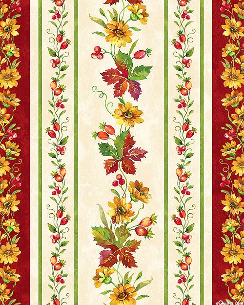 Give Thanks - Autumn Garlands Stripe - Ivory
