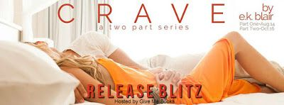 Release Blitz - Crave: Part One by E.K. Blair  @EK_Blair_Author    Title: Crave: Part OneSeries: Crave Duet #1  Author: E.K. Blair  Genre: New Adult Contemporary Romance  Release Date: August 14 2017  Blurb  Kason and Adaline.  From the moment they met they started to fall. Neither of them predicted just how far the drop would be though.  Loving Adaline was all Kason had ever wanted to do. But layer by layer he started to unravel forcing Adaline to face an addiction she never couldve…