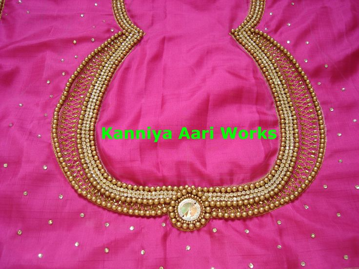 Antique pearl and zari thread work for a blouse by kanniya