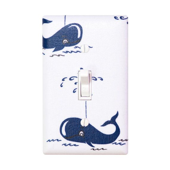 Whale Light Switch Plate Cover / Boys Baby Nursery / Nautical Dark Navy Royal Blue / It's a Boy Thing by Michael Miller