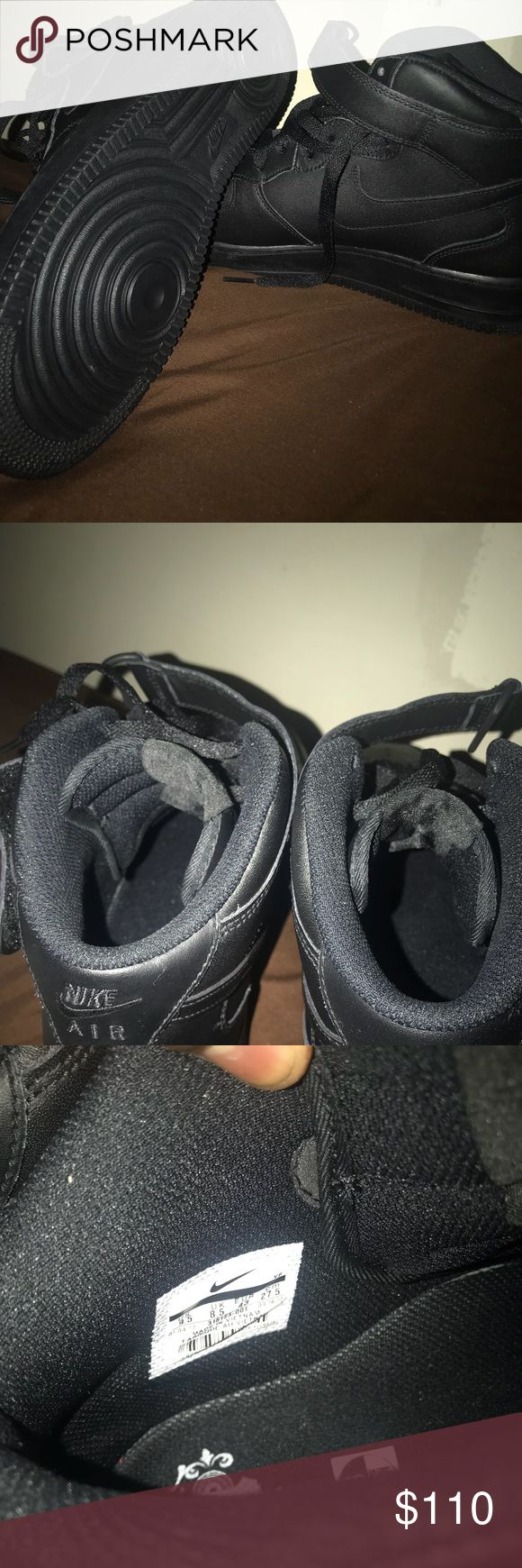 All black forces All black high top's, used once, not asking for to much, hmu air forces Shoes Sneakers