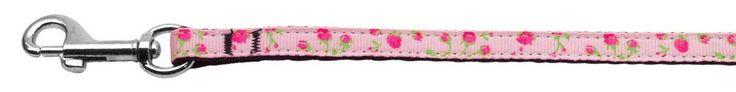 Nylon Dog Leash - Roses in Light Pink