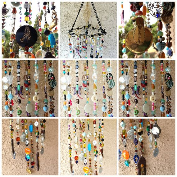 Bohemian Boho Inspired Mobile Suncatcher Hanging - Home Garden Decor - Beads and Random Findings - Live Now