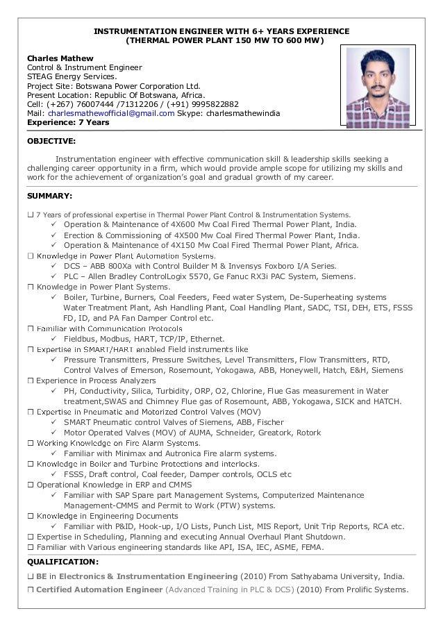 Resume Charles Mathew Instrumentation Engineer 7 Years Overseas 600 Effective Communication Skills Power Corporation Effective Communication