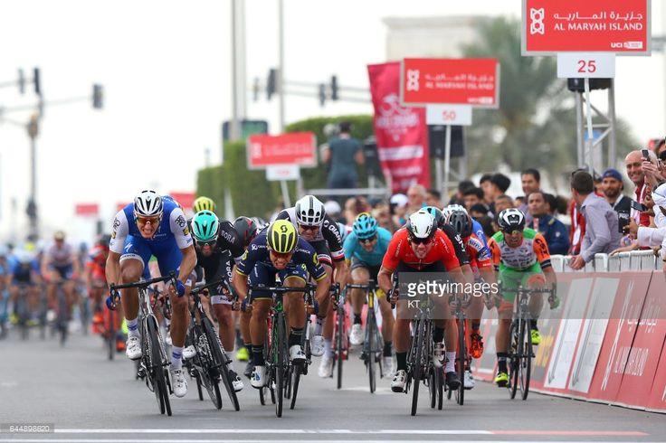 #RideToAbuDhabi 3rd Abu Dhabi Tour 2017 / Stage 2 Arrival / Caleb EWAN (AUS)/ Marcel KITTEL (GER)/ Mark CAVENDISH (GBR) Red Leader Jersey / Phil BAUHAUS (GER)/ Matteo PELUCCHI (ITA)/ Abu Dhabi-Al Maryah Island - Abu Dhabi-Big Flag (153km)/ Ride to Abu Dhabi / Nation Towers Stage /