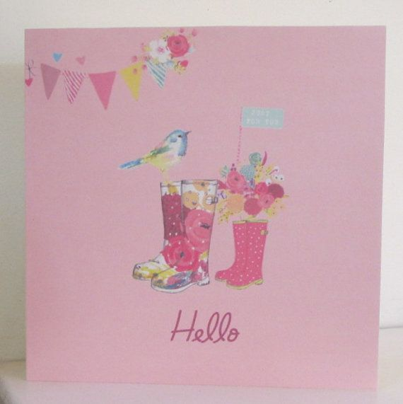 Floral Wellington Boots Card by thesparklyfairy on Etsy