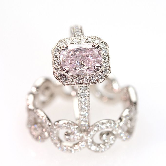 Style RP167DPK, platinum and diamond Kelly ring with a 1.24ct pink diamond center, $50,000, Erica Courtney  See more asscher-cut engagement rings.