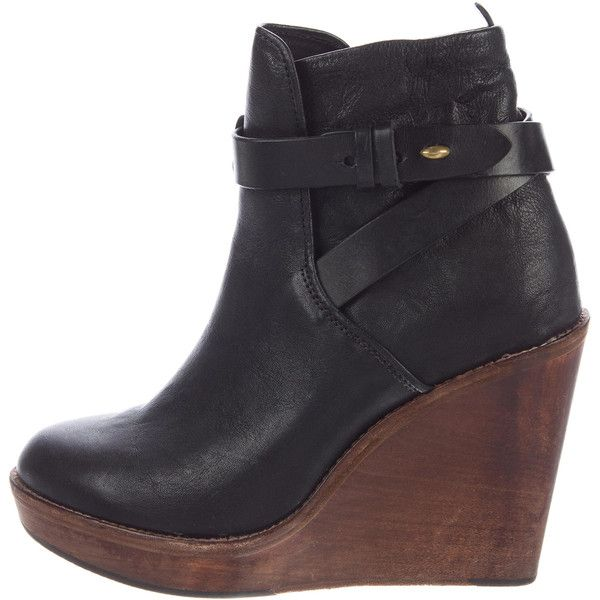 Pre-owned Rag & Bone Emery Wedge Ankle Boots ($175) ❤ liked on Polyvore featuring shoes, boots, ankle booties, black, black boots, wedge ankle boots, black wedge ankle booties, leather booties and short black boots
