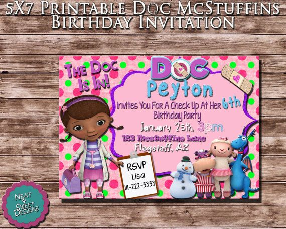 doc mcstuffins birthday invitation party ideas doc mcstuffins