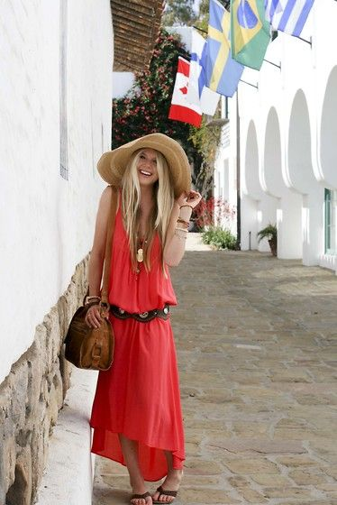 red maxi dress: Beach Dresses, Summer Dresses, Summer Fashion, Summer Looks, Summer Style, Straws Hats, Maxis Dresses, Floppy Hats, The Dresses
