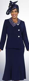 Fifth Sunday 52826-Navy Embellished Collar Church Suit With Pleated Skirt