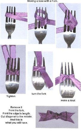How to make a bow with a ribbon and fork. It works for those fingers that don't work right anymore
