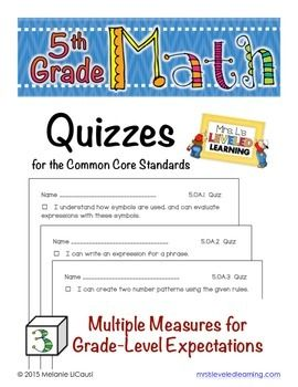 These quizzes were created to offer students multiple opportunities to show mastery of the Common Core grade level standards. They can be used independently, or in addition to the Posters, Assessments, and Student Portfolio pages created by Mrs. Ls Leveled Learning.