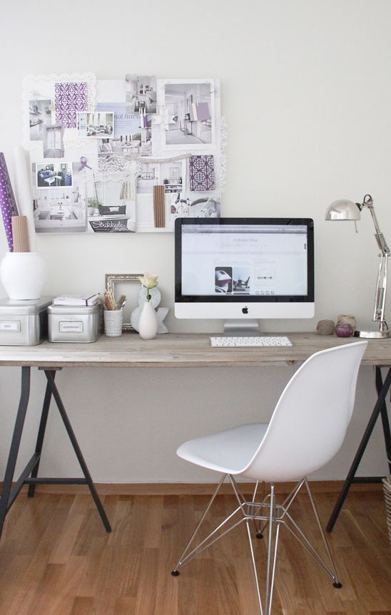 White home office with rustic table & other elements. Mood/inspiration board changes and adds different accents as well. From Stylizimo blog.