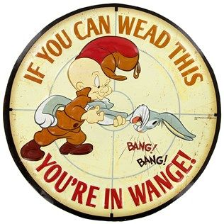 "Shh, we're hunting wabbits here. Join Elmer Fudd on his quest to hunt Bugs Bunny with this quirky Elmer Fudd in Range Embossed Tin Sign. Perfect for hanging in offices, dens, hunting lodges, and more, this sign features Elmer Fudd using Bugs Bunny as a rifle.     	Dimensions:    	  		Width: 13""      	Hanging Hardware: 1 sawtooth hanger    	Full Text: If you can wead this - you're in wange! - Bang! Bang!"