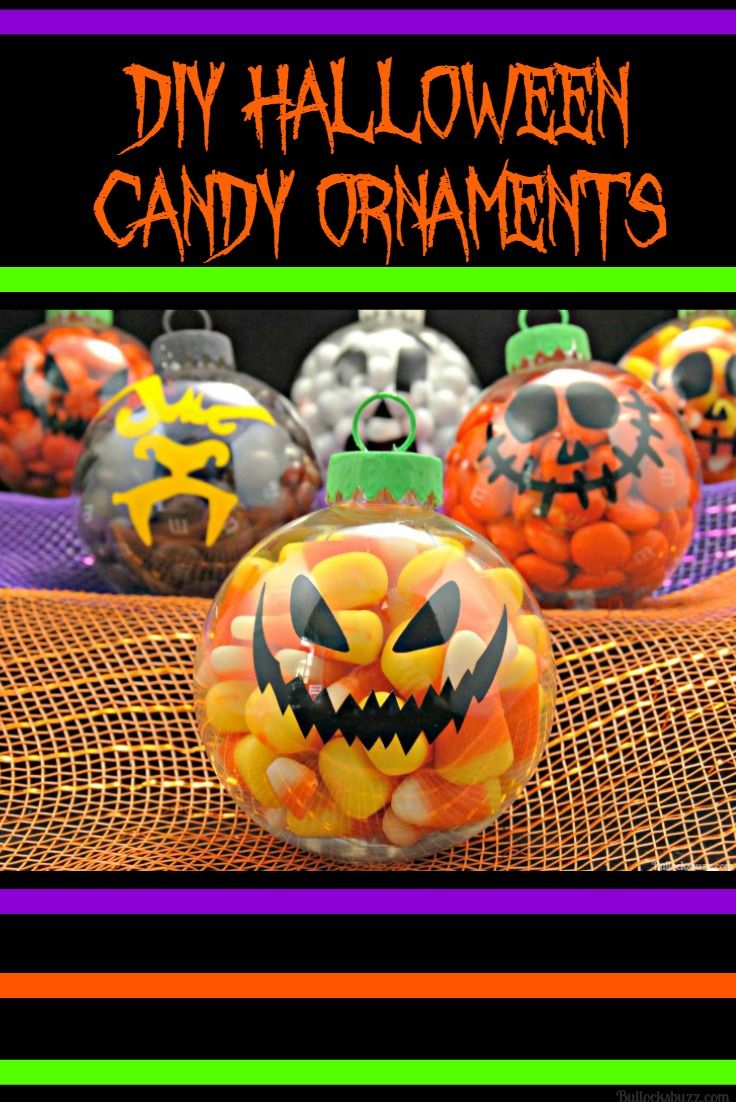 These DIY Halloween candy ornaments are easy to make and work great as party favors. treats and decor! Click through to see how to make them.