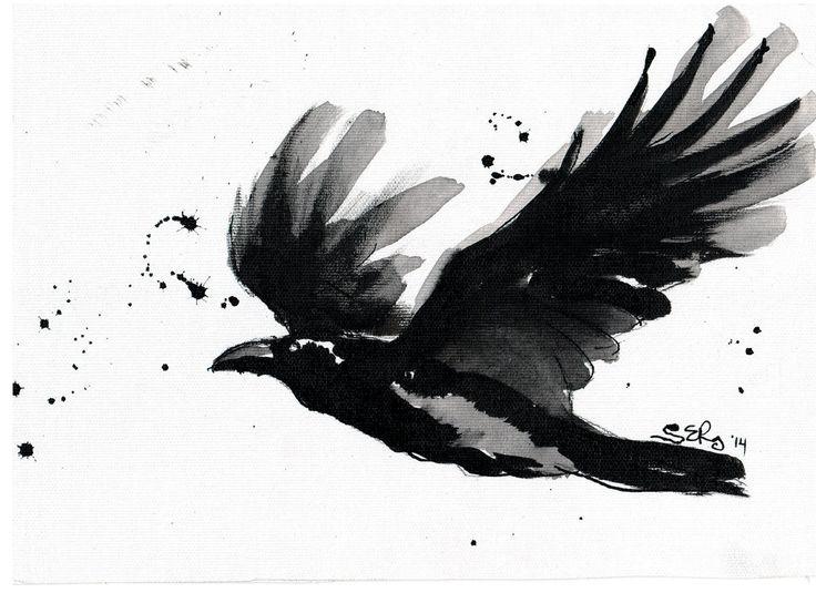 A flying raven by DoodleWithGlueGun.deviantart.com on @deviantART