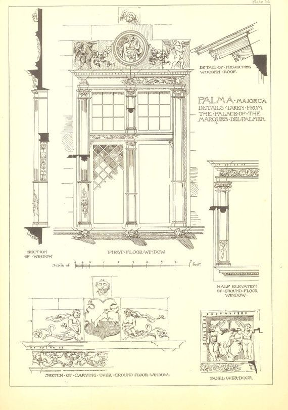 Architectural details drawing andrew n prentice vintage for Printing architectural drawings