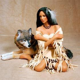 Native American with Wolf by Cindy McClure 2008