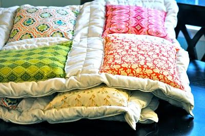 "sew squares on a down comforter for a ""cheater quilt"""