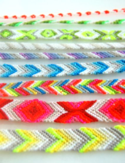 Friendship bracelets :) I used to do these when I was young. I have a bunch of embroidery thread tucked away ... maybe I should try it again!
