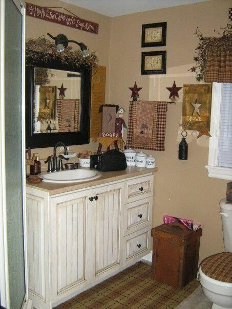 Best 20 primitive bathroom decor ideas on pinterest for Images of country bathrooms
