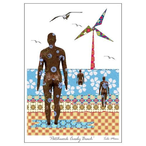 This Crosby Beech Print is a patchwork print of Anthony Gormley's 'Another Place'- a signature landmark in Crosby Beech of 100-cast iron, life-size sculptures designed by Gromley.