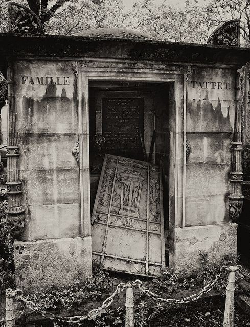 Abandoned Tattet family tomb in the Pere Lachaise cemetery in Paris France