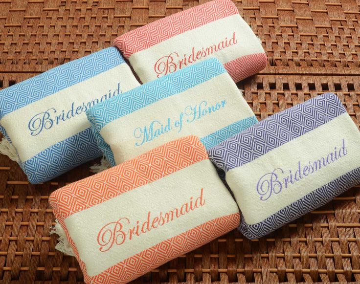 FREE SHIPPING Set of 5 Personalized Handwoven Diamond Cotton PESHTEMAL Towels - Monogrammed Embroidered - Maid of Honor and Bridesmaid by NaturalSoft on Etsy https://www.etsy.com/listing/187396973/free-shipping-set-of-5-personalized