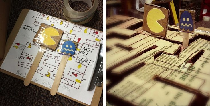 Fifth graders at Knox used the engineering design process to create a Pac-Man game during their Cardboard Challenge. (Photo c/o Michael Buis...