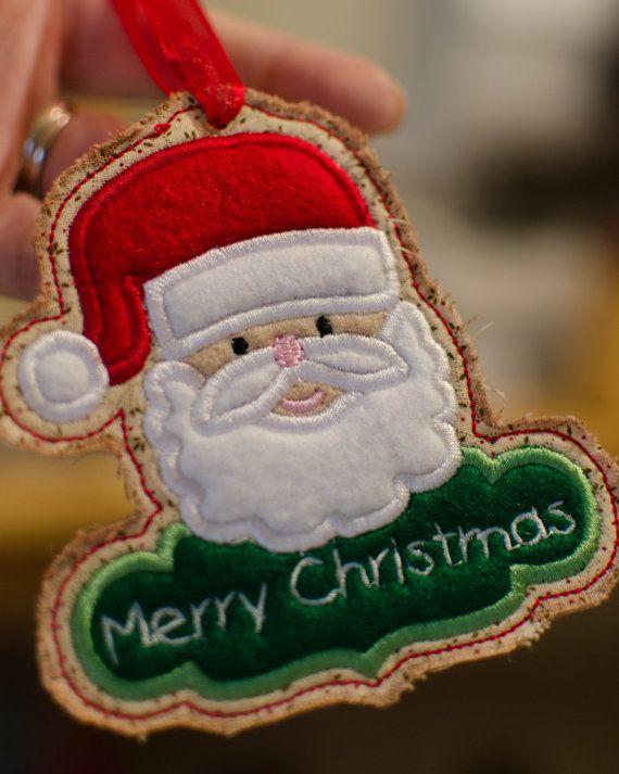 Inthehoop SANTA CLAUS Merry CHRISTMAS tag / Tree by lannahdesigns, $3.50