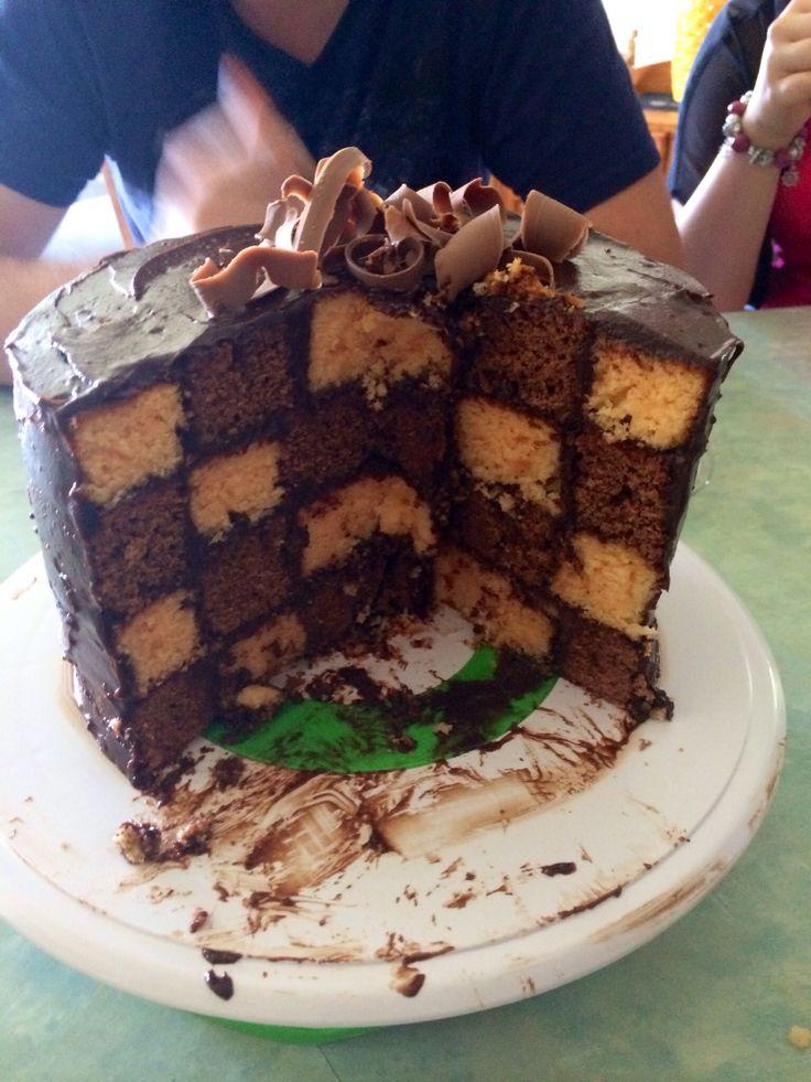 Checkerboard cake, orange and chocolate. Yummy!