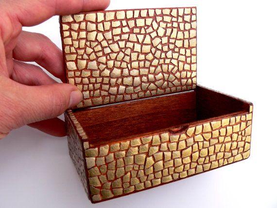 EggShell Golden Mosaic Casket Box Wooden Cuboid Shape by MariaArts