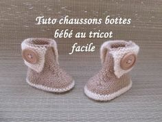 TUTO CHAUSSONS BOTTES BEBE TRICOT FACILE bootie knitting baby boots, My Crafts and DIY Projects