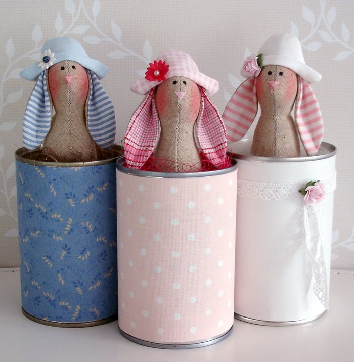 cute idea....bunny in a recycled tin can!