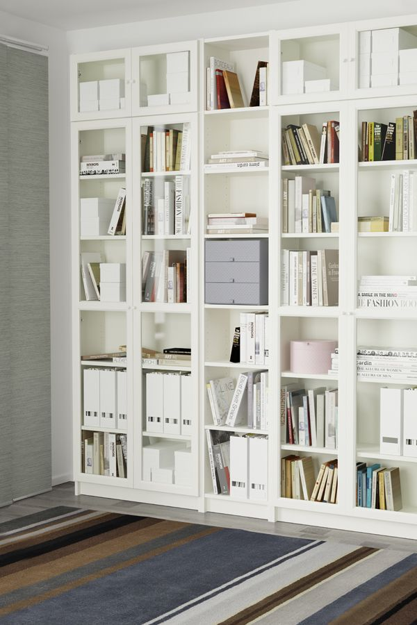 From a single bookcase to a wall-to-wall library, the IKEA BILLY bookcase system has it covered. It comes in different heights, widths and finishes, with adjustable shelves to suit all sizes of books, plus optional doors. And when your book collection grows, it's easy to add more pieces so your storage can grow, too.