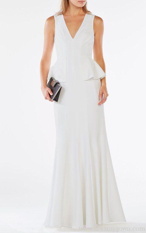c0b9d37243fc Elegant Francesca Peplum V-neck BCBG Pageant Dress White | B C B G ...