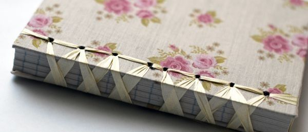 Book journal with silk ribbon as binding tied like a pretty ballerina :)