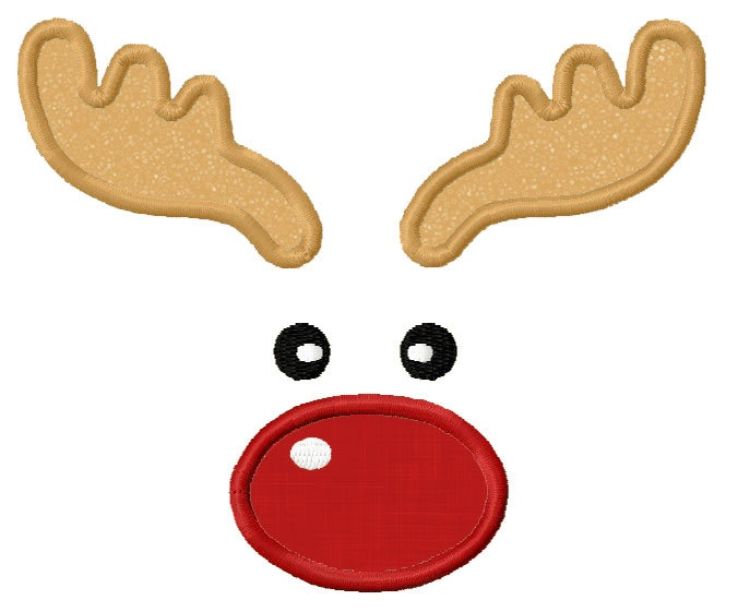 Christmas Reindeer Face  Applique Machine Embroidery