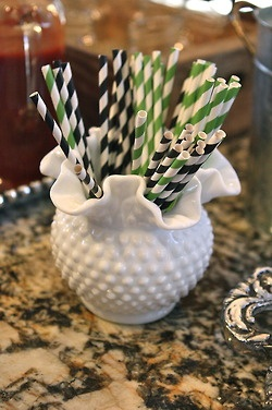 #Milk Glass from #Goodwill used to hold paper straws at a bridal shower. #vintage #party #decor