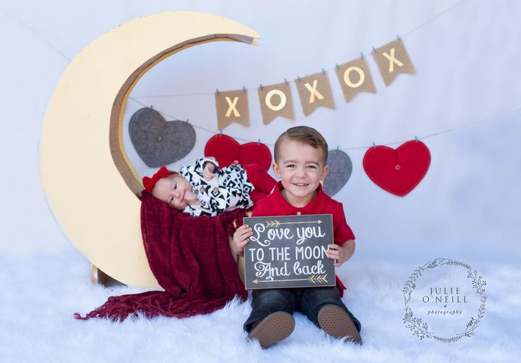 Valentine's Day Mini Session. Love you to the moon and back. Ideas for Valentine's Day photos. Sibling shots, baby and older sibling picture ideas.