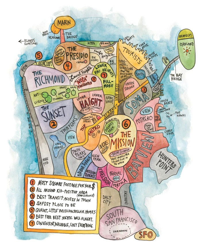 Cool and artistic San Francisco map.