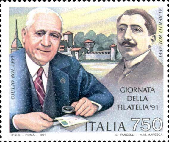 1991 - Giornata della Filatelia - ritratti dei filatelici Giulio e Alberto Bolaffi. Sullo sfondo veduta di Torino, città sede della Giulio Bolaffi Editore.
