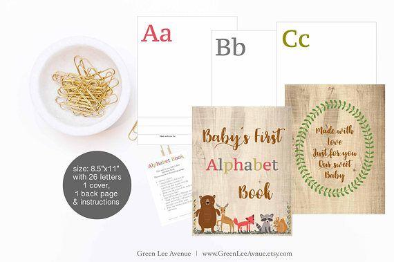 Forest Animals Alphabet Baby Shower Book 8.5x11 Baby First