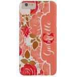 Chic Coral Red Gold & Peach Watercolor Rose Flower Barely There iPhone 6 Plus Case