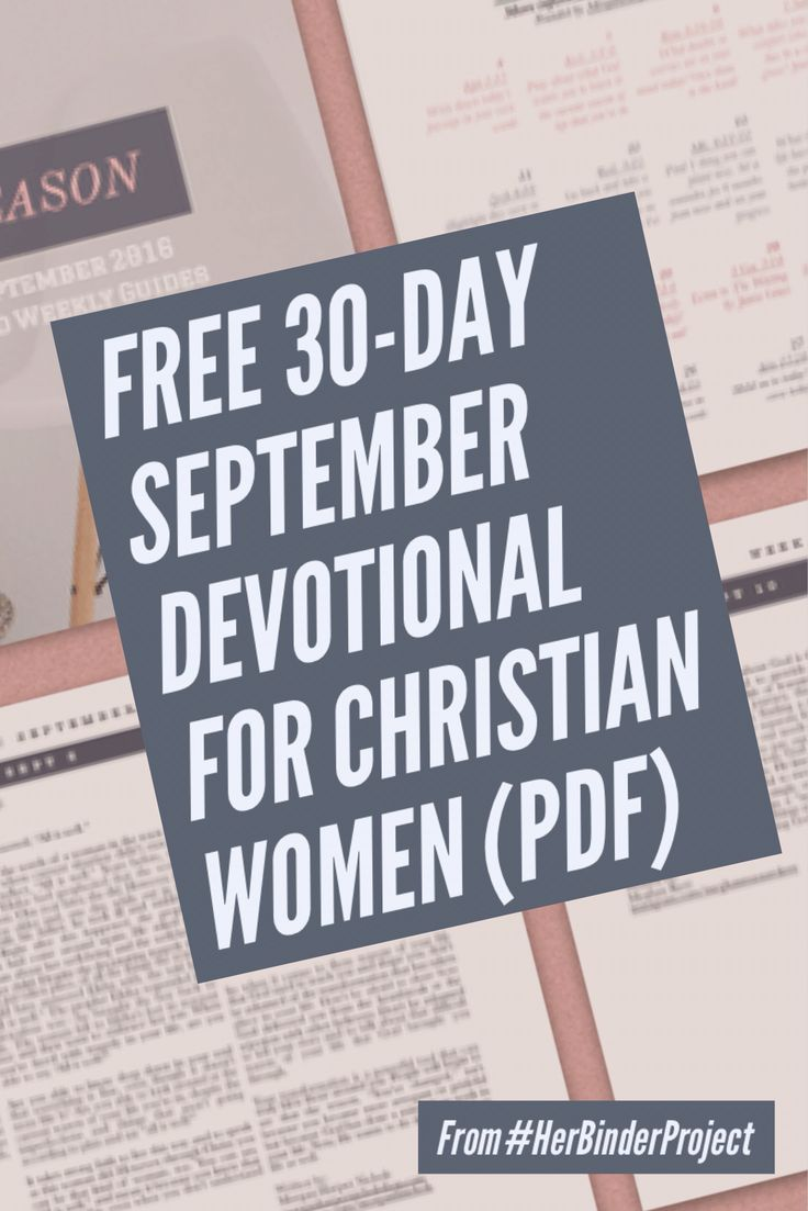 Free 30 Day Devotional For September Called