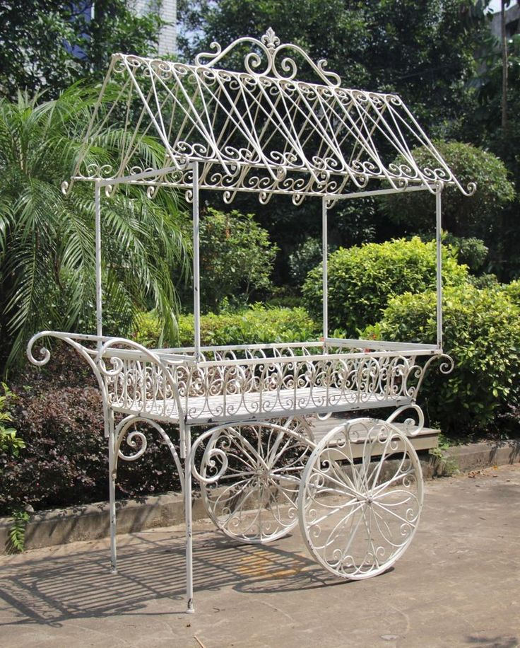 BEAUTIFUL LARGE IRON PARIS FLOWER CART PLANTER WITH ROOF IN ANTIQUE WHITE